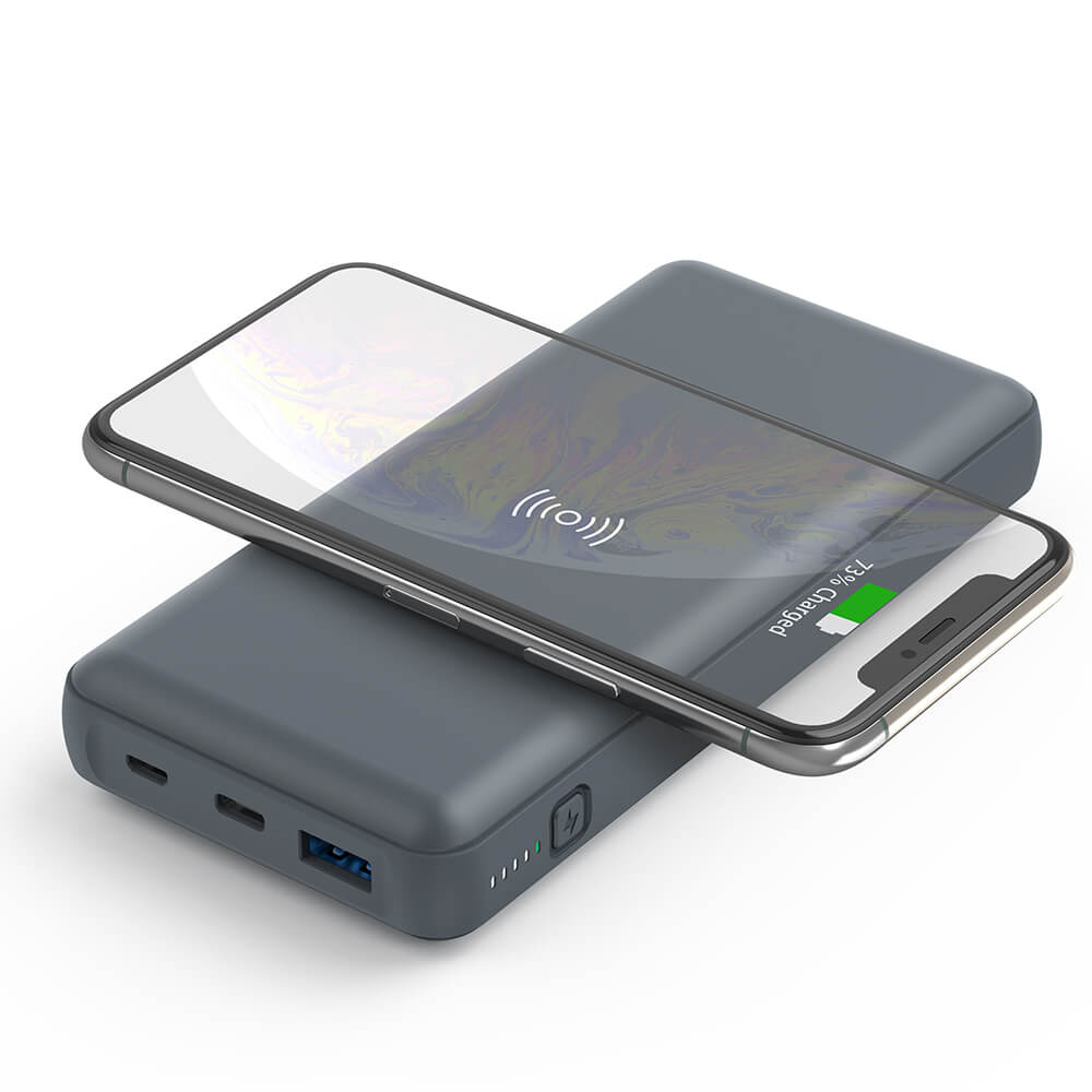 Portable Double USB Fast Charging Wireless Power Bank 20000mAh PD 3.0 QC 3.0 18W