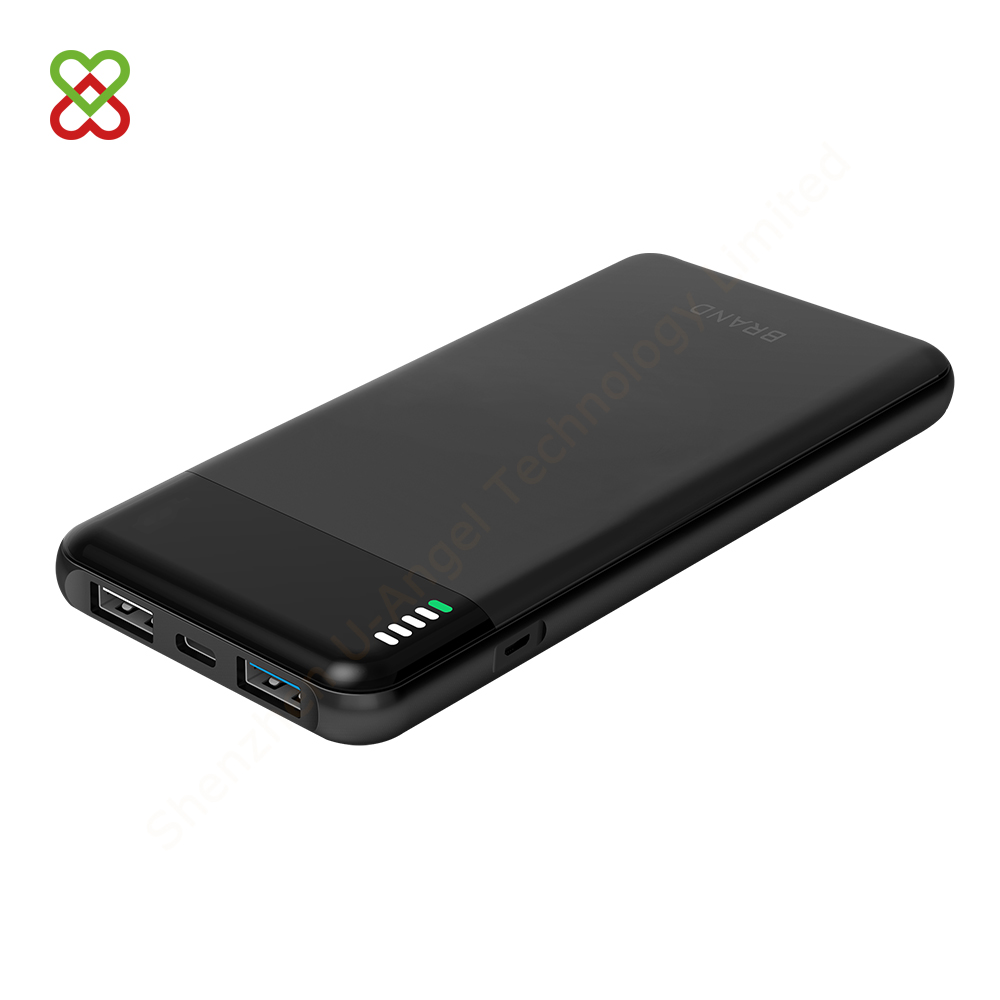 12 V battery Type-C QC3.0 dual USB output fast charging power bank 10000mAh LED