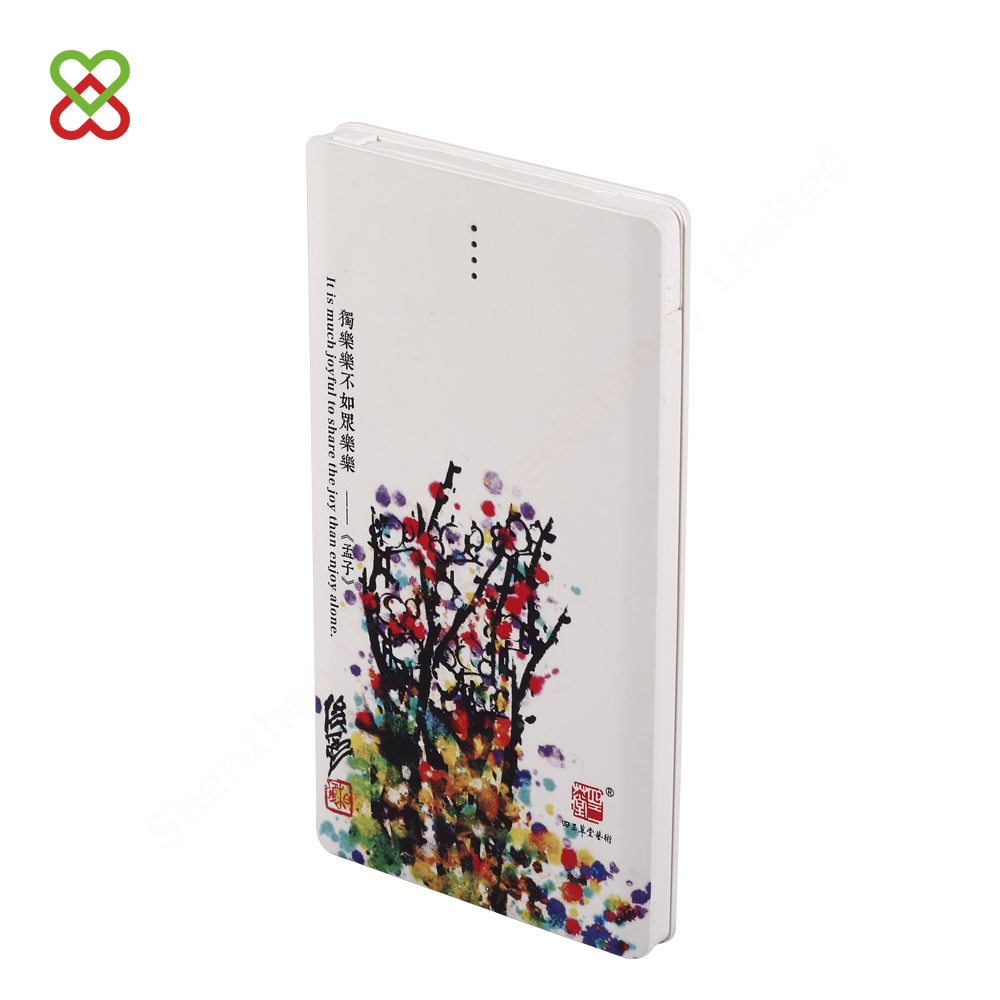 wholesale lithium polymer battery 5000 mAh power bank with USB charging cable