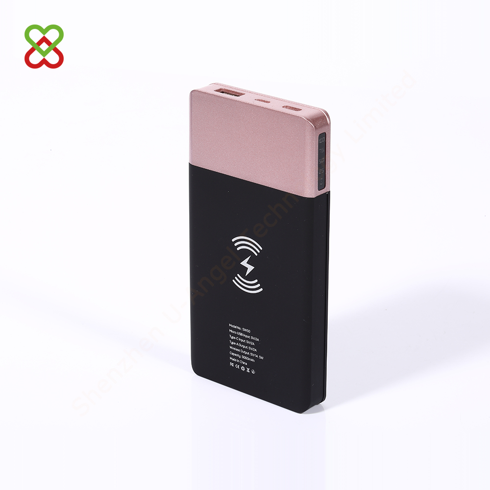 custom RoHS CE FCC portable wholesale Qi wireless power bank charger 5000mAh
